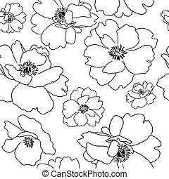 Contorno de flores de amapola, fondo sin costura