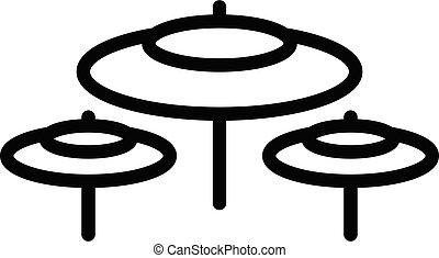 contorno, estilo, icono, kit, tambor