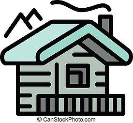 contorno, estilo, montañas, cabaña, icono