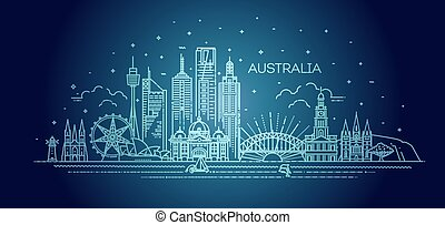 contorno, lineal, vector, illustration., famoso, arquitectura, cityscape, línea, señales, australia