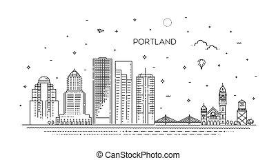 contorno, portland, vector, oregón, línea, ilustración