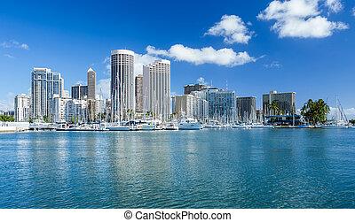 contorno, seafront, hawai, honolulu, oanu