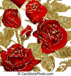 contorno, telón de fondo., blanco, vector, ilustración, floral, rojo, seamless, rosas, fondo., patrón, vendimia, oro