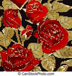 contorno, telón de fondo., oro, vector, ilustración, floral, rojo, seamless, rosas, fondo., patrón, vendimia, negro