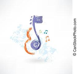 Contour Violin y nota icono grunge
