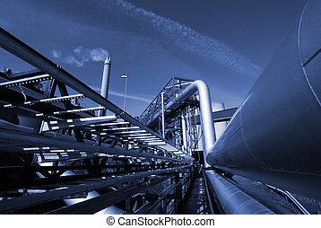 contra, cielo azul, industrial, tono, pipe-bridge, tuberías