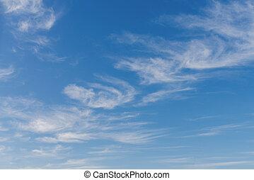 contra, cielo azul, nubes, hermoso