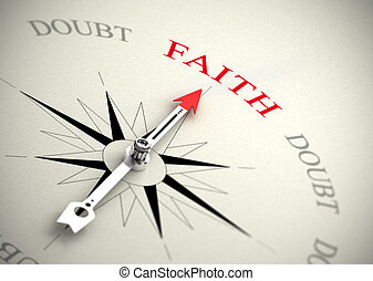 contra, fe, confianza, concepto, duda, religión, o
