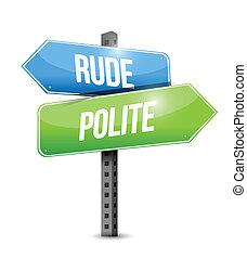 contra, grosero, cortés, ilustración, señal, diseño, camino