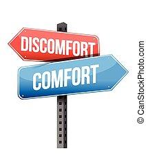contra, malestar, comodidad, muestra del camino