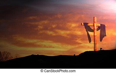 contra, salida del sol, de madera, nubes, cruz