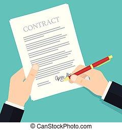Contrato de firma a mano.