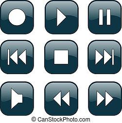 control, botones, audio-video