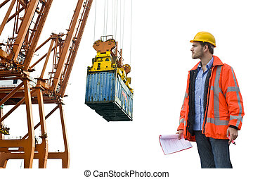 Control de Aduanas inspeccionando un puerto comercial