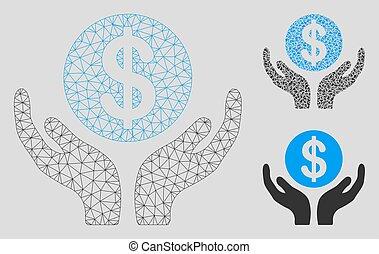 Control de mantenimiento financiero vector de malta modelo 2D y icono mosaico triángulo