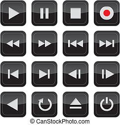 control, multimedia, conjunto, brillante, icono