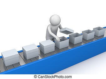 control, transportador, trabajadores, -, colección, calidad