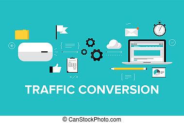 Conversión de tráfico plana de ilustración
