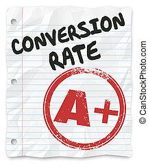 conversión, grado, ventas, exitoso, tasa, papel, porcentaje, rayado