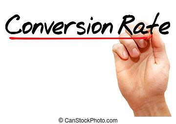 conversión, tasa