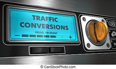 Conversiones de tráfico en exhibición de máquina expendedora.
