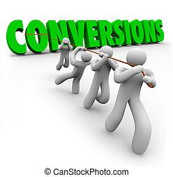 conversions, palabra, empresa / negocio, renta, trabajadores, equipo, ventas, o, aumento, mezclando, crecer, strengths, tirado, compañía, ganancias, mejorar
