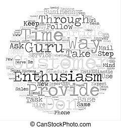 Conviértete en un cliente entusiasta gurú texto fondo palabra de nube concepto