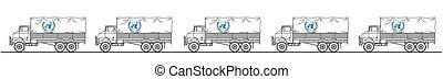 convoy, representación, camión, onu