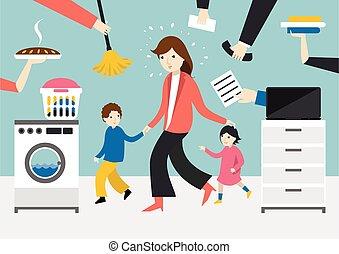 coocking, trabajando, mujer de negocios, woman., niños, madre, calling., multitarea