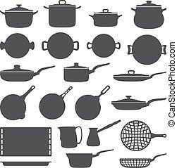 cookware, conjunto, silueta