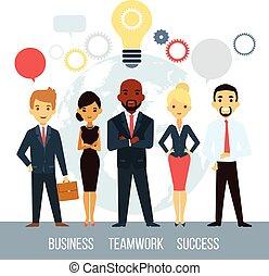 cooperación, empresarios, mundial