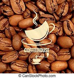 Copa de café diseño de granos de fondo