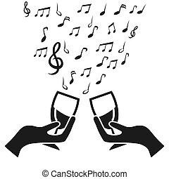 Copa de vidrio anima con nota musical