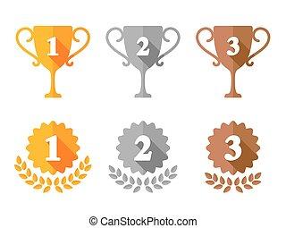 Copa trofeo y iconos de medallas