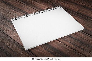 copia, blanco, render, libro, espacio, orientación, anillo, ilustración, 3d, plano de fondo, de madera, rústico, límite, pedacito, horizontal