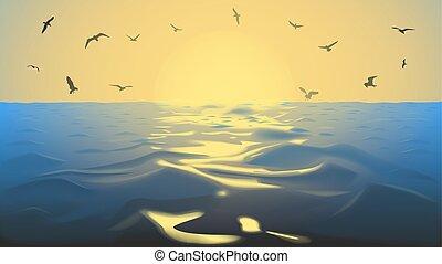 copia, ilustración, amarillo, océano, tonos, sol, vector, aves, ocaso, espacio