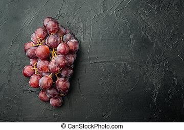 copia, maduro, oscuridad, punta roja, colocar, fruits, uva, vista, negro, plano, espacio, texto, plano de fondo, piedra