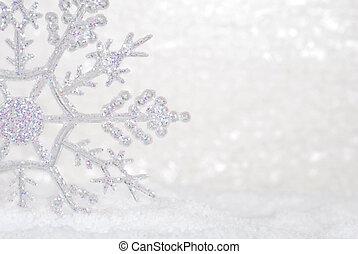 Copo de nieve brillante en la nieve