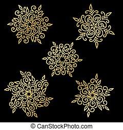 copos de nieve, conjunto, fondo., negro, oro, illustration., vector