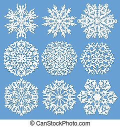 Copos de nieve de papel. Ilustración vectorial