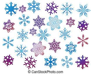 Copos de nieve en blanco