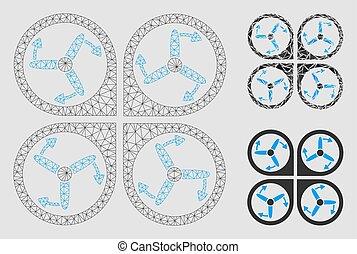 Copter tornillos vector rotación vector mesh cuadro modelo de alambre y icono mosaico triángulo