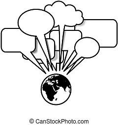 copyspace, blogs, habla, discurso, tweets, tierra, este, burbuja