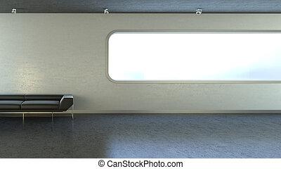 copyspace, pared, sofá, ventana, negro, interrior