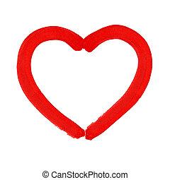 Corazón acuarela. Ilustración de vectores.