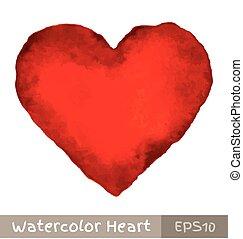 Corazón acuarela rojo