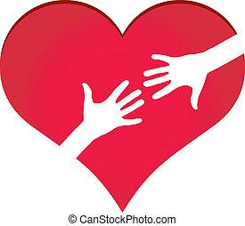 corazón, alcanzar, símbolo, manos, otro, cada