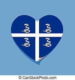 corazón, amor, bandera, martinica