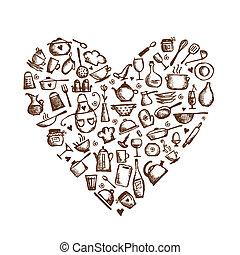 corazón, amor, bosquejo, cooking!, utensilios, forma, diseño, su, cocina