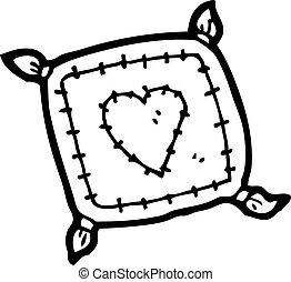 corazón, amor, caricatura, cojín